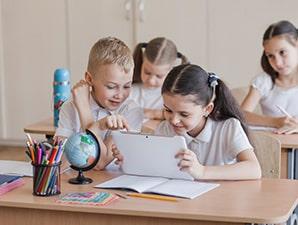 Draadloos onderwijs is ideaal voor educatieve apps voor basisscholen